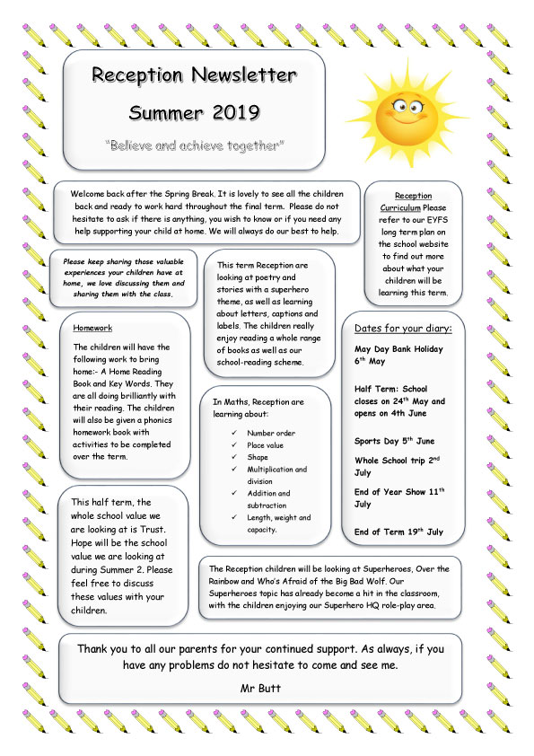 Reception-Newsletter-SUMMER-2019